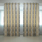 HIG Luxury Printed Home Room Door Window Ready Made Ring Top Curtains Pair Drape