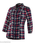 Womens Check Shirt Blouse 3/4 Sleeve