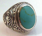 Sterling Silver Men's Ornate Turquoise Ring Sz 8-13