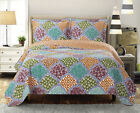 Luxury Dahlia Coverlet set, Wrinkle Free Printed Bedspread, Reversible Quilt image