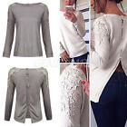 Women Back Button Up Floral Lace Long Sleeve Casual Loose Tops Blouse Shirt