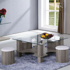 Grain 5 PC Square Temper Clear Glass Top Coffee Table Ottomans Set or End Table