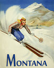 """Blond Lady ski Skiing in Montana Winter Sport 16""""X20"""" Vintage Poster FREE S/H"""