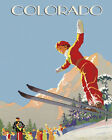 """Colorado Ski Lady Jumping Skiing Moutains Sport 16""""X20"""" Vintage Poster FREE S/H"""