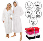 WHITE HOODED BATHROBE 100% COTTON M L XL XXL XXXL XXXXL PRESENT GIFT MENS LADIES