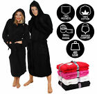 BLACK HOODED BATHROBE 100% COTTON M L XL XXL XXXL XXXXL PRESENT GIFT MENS LADIES