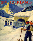 Ski Alps Switzerland Train Mountains Skiing Sport 16X20 Vintage Poster FREE S/H