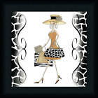 Swanky Shopper Gal 12x12 Animal Print Fashion Dress Art Print Framed Picture