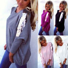 New Fashion Women Loose Casual Long Sleeve Sexy Shirt Tops Blouse Ladies Tee Top