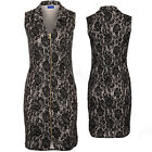 Womens Sleeveless V Neck Floral Lace Lined Zip Front  Straight Sequin Dress
