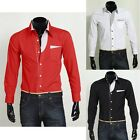 New Luxury Shirts Mens Casual Formal Slim Fit Solid Shirts Dress Shirt Tops