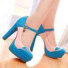 2015 New Pumps Ankle Strap Thick High Heel Buckle Office Lady Shoes US Size s124