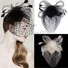Fashion Women Bow Hair Clip Lace Feather Mini Hat Fascinator Wedding Party Race