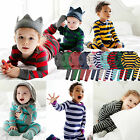 "Vaenait Baby Toddler Kids Boys Girls Clothes Thick Pyjama Set ""Stripe set"" 12-7T"