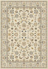 Yellow Traditional Oriental Bordered Area Rug Vines Circles Petals Leaves Carpet