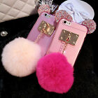 New Cute Gift Minnie Rabbit Fur Phone Cover Skin Case For iPhone 5 5S 6 6S Plus