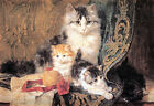 Cat and Her Three Kittens by Henriette Ronner-Knip (Art Print of Vintage Art)