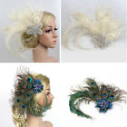 Women Peacock Feather Hair Clip Hairpin Carnival Fancy Party Headpiece Small Hat