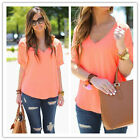 Women LadiesSexy V Neck Short Sleeve  Casual Chiffon T-shirt Blouse Loose Tops