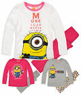 Girls Long Sleeved Minions Pyjamas New Kids Official Despicable Me PJS 6-12 Yrs