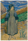 "PAUL GAUGIN ""Young Breton Girl by the sea"" child carrying basket CANVAS PRINT"