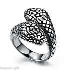 Men's Vintage Punk 316L Stainless Steel Wide Ring Silver Boa Horrific US 7-11