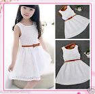 Gorgeous Girls Party Dress Kids Lace Dresses Belted Outfit Size 2-3-4-5-6-7-8Y
