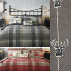 Tartan 100% Brushed Cotton Flannelette Duvet Cover Set - Reversible Stag Bedding