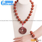 "16mm Natural Round Red Jasper Finished Necklace 16"" Finished Bracelet 7"" Set"