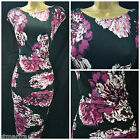 NEW WALLIS DRESS BODYCON FLORAL BLACK PURPLE IVORY RUCHED RETRO PARTY 8 - 18
