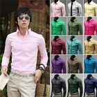New Fashion Mens Luxury Casual Formal Shirts Slim Fit Long Sleeve Top 5 Colors