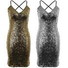 Women's V Neck Strappy Cami Sequin Lined Ladies Cross Back Party Bodycon Dress