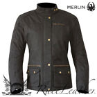 MERLIN BROMLEY WOMENS BLACK WAX COTTON WATERPROOF MOTORCYCLE MOTORBIKE JACKET