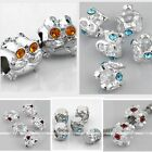 5x 4mm Hole Silver Plated European Flower Drum Crystal Bead Fit Charm Bracelet