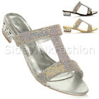 WOMENS LADIES BLOCK LOW HEEL PARTY DIAMANTE SLIP ON STRAPPY MULES SANDALS SIZE