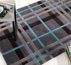 Hand Tufted Funky Tartan Check Carpet Rug in Contemporary Blue & Slate Grey