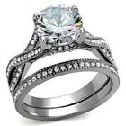 Round  4.6Ct  CZ Stainless Steel Infinity Eternity Wedding Engagement Ring Set