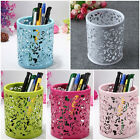 Hollow Rose Flower Pattern Metal Pen Pencil Pot Holder Organizer ys