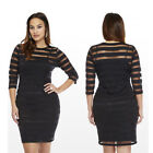 Sexy Lady Women Long Sleeve Bodycon Plus Size Cocktail Party Evening Mini Dress