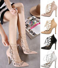 New Womens Pumps Lace Up Gladiator Stilettos High Heel Sandal Party Court Shoes