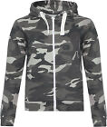 New Womens Camouflage Army Print Long Sleeve Zip Jacket Top Ladies Hoodie 8-16