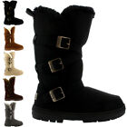 Womens Triplet Buckle Tall Fully Fur Lined Waterproof Winter Rain Snow Boots 3-9
