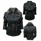 Ladies Jacket Faux Leather Removeable Fake Fur Collar Womens Black Zip Up Coat