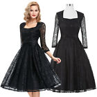 LACE SATIN 50s 60s Vintage Formal Party Evening Retro Short Dress NEW