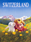 Blond Girl Lamb Alps Landscape Switzerland Travel Vintage Poster Repro FREE S/H