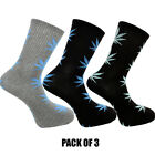 Weed Socks Marijuana Cannabis Leafs Leaves Unisex Adult fit 6-12 D12 Pack Of 3