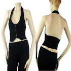 Crop Halter Vest Top w/Elastic Back,Button,Stretchy Tank Top Casual Layer Shirt