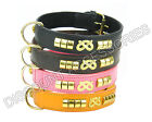 LEATHER DOG COLLAR STAFFORDSHIRE BULL TERRIER STAFFIE STAFF BLACK PINK BROWN TAN