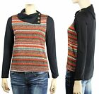 Gold Button, Hi-Low Long Sleeve Cute Collar Sweater Knit Shirts  Multi Color SML