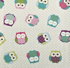Fryetts Owls Multi Cotton Designer Owl Fabric Curtain Upholstery Quilting Blinds